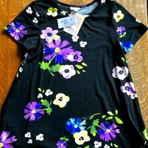 New Lularoe Black Floral Melissa Top XXS